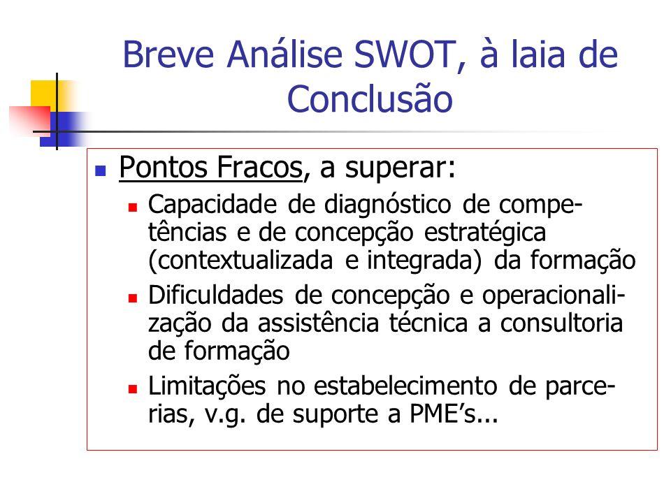 Breve Análise SWOT, à laia de Conclusão Pontos Fracos, a superar: Capacidade de diagnóstico de compe- tências e de concepção estratégica (contextualiz