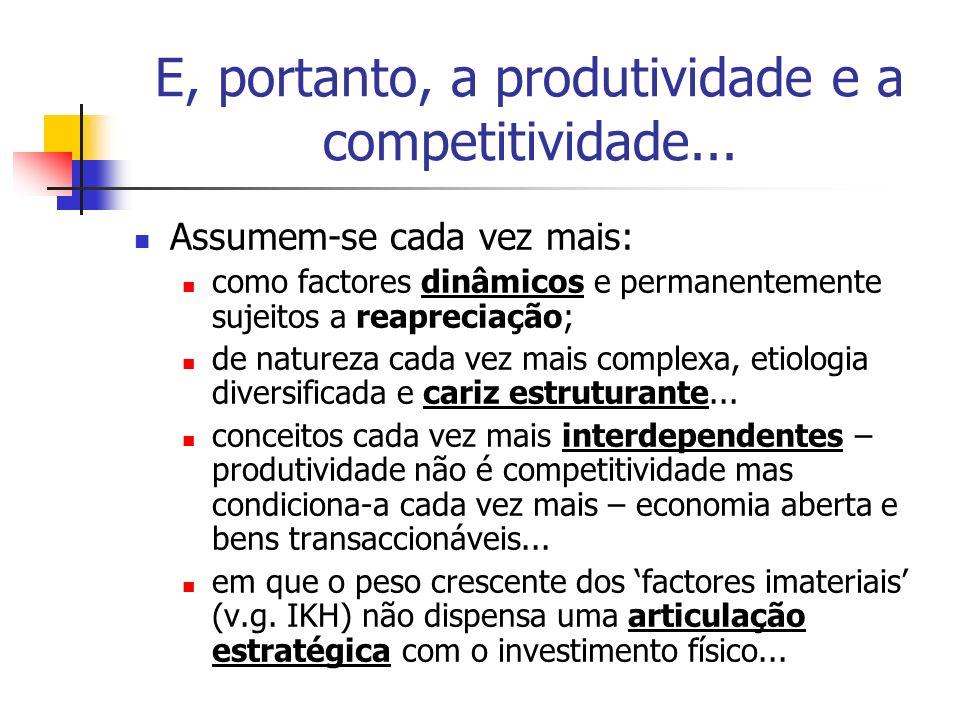 E, portanto, a produtividade e a competitividade... Assumem-se cada vez mais: como factores dinâmicos e permanentemente sujeitos a reapreciação; de na