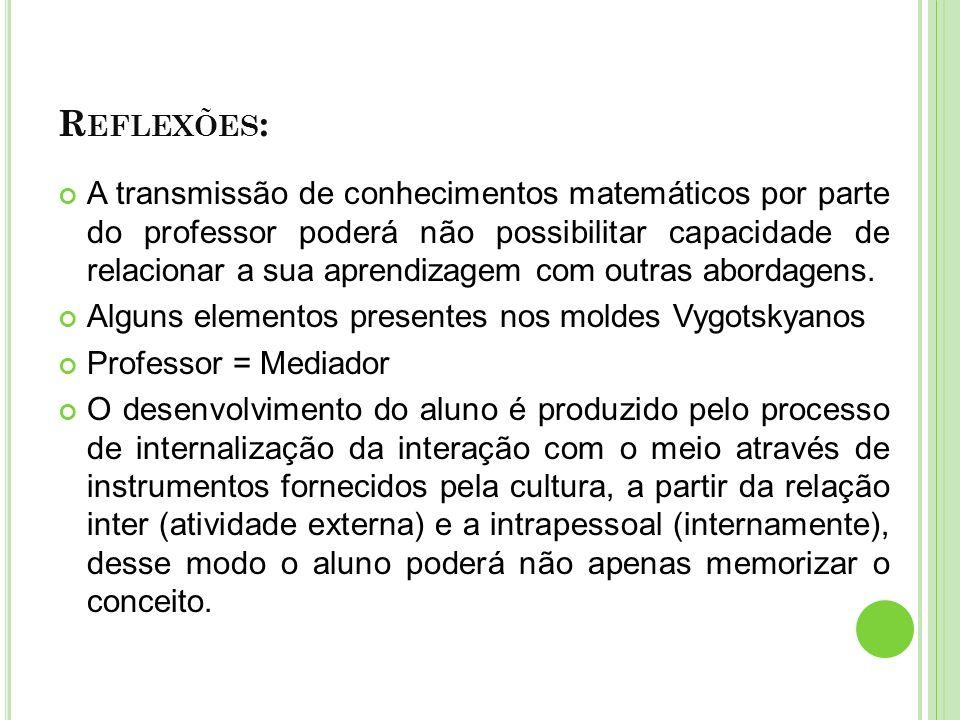 R EFLEXÕES : A transmissão de conhecimentos matemáticos por parte do professor poderá não possibilitar capacidade de relacionar a sua aprendizagem com outras abordagens.