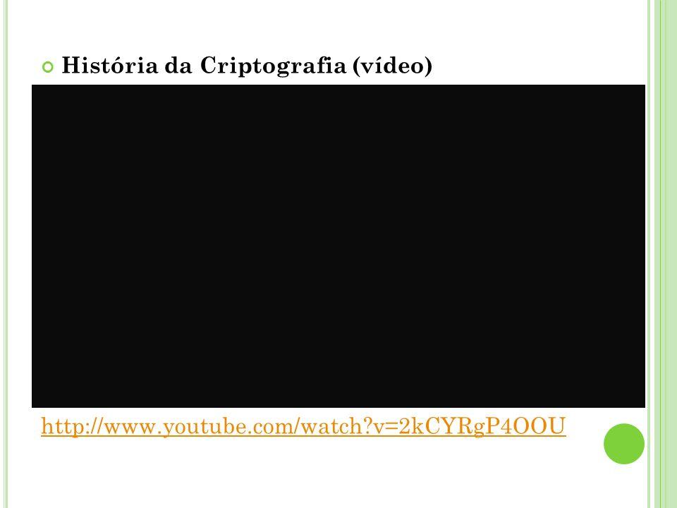 História da Criptografia (vídeo) http://www.youtube.com/watch?v=2kCYRgP4OOU
