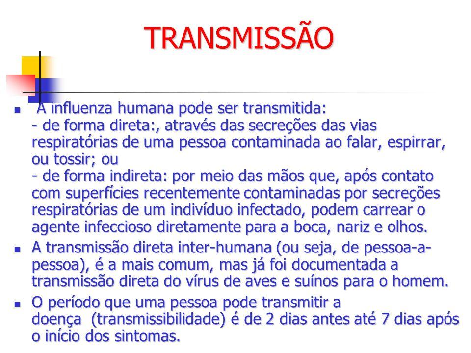 TRANSMISSÃO A influenza humana pode ser transmitida: - de forma direta:, através das secreções das vias respiratórias de uma pessoa contaminada ao fal