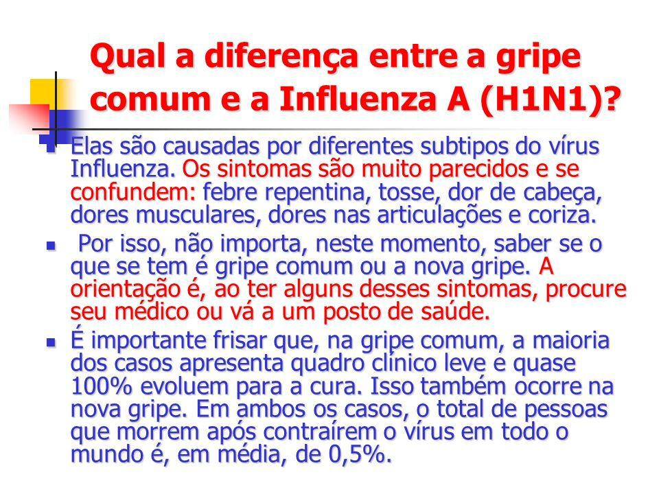 Qual a diferença entre a gripe comum e a Influenza A (H1N1)? Elas são causadas por diferentes subtipos do vírus Influenza. Os sintomas são muito parec