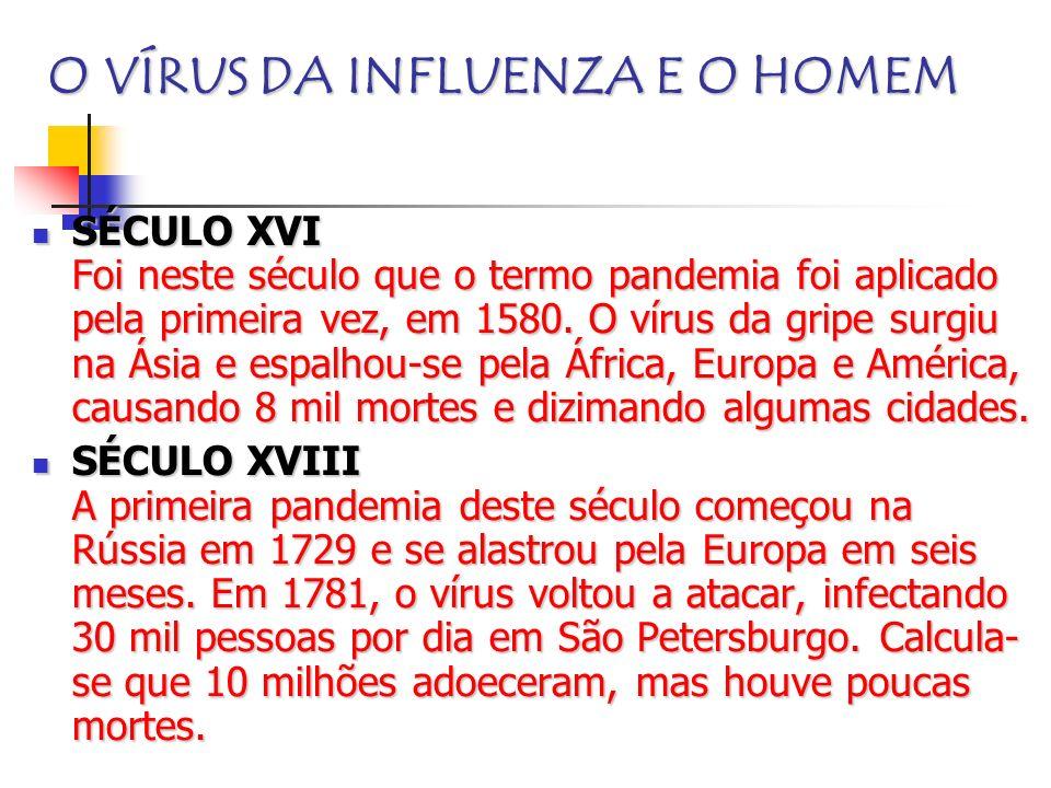 O VÍRUS DA INFLUENZA E O HOMEM SÉCULO XVI Foi neste século que o termo pandemia foi aplicado pela primeira vez, em 1580. O vírus da gripe surgiu na Ás