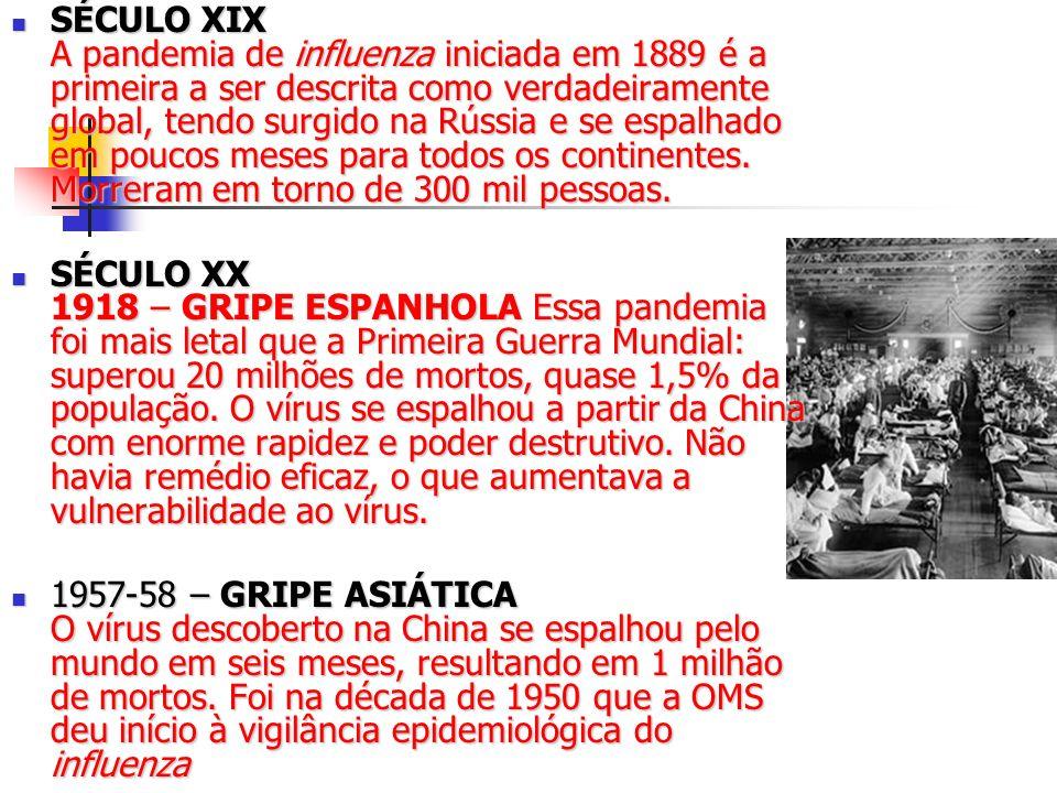 SÉCULO XIX A pandemia de influenza iniciada em 1889 é a primeira a ser descrita como verdadeiramente global, tendo surgido na Rússia e se espalhado em