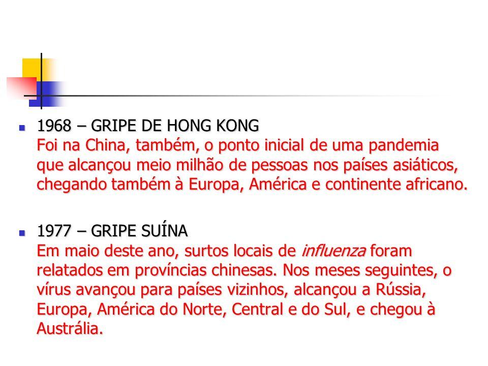 1968 – GRIPE DE HONG KONG Foi na China, também, o ponto inicial de uma pandemia que alcançou meio milhão de pessoas nos países asiáticos, chegando tam