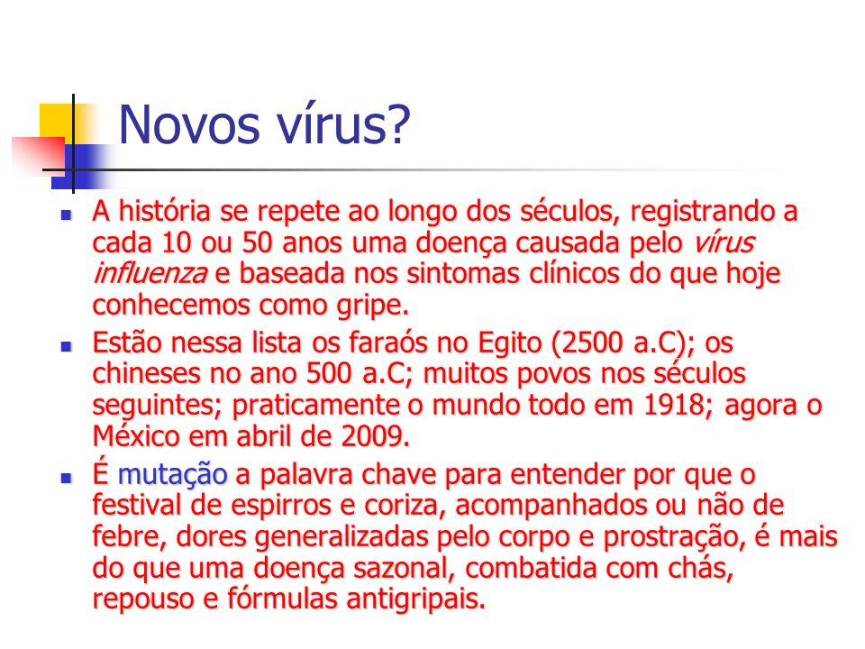 Novos vírus? A história se repete ao longo dos séculos, registrando a cada 10 ou 50 anos uma doença causada pelo vírus influenza e baseada nos sintoma