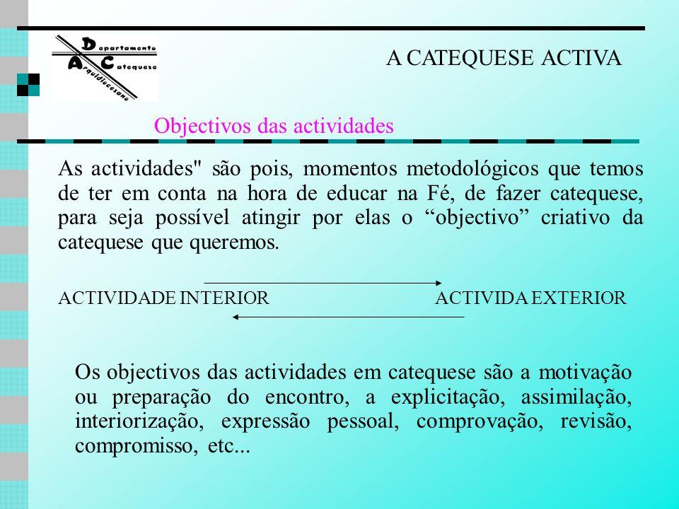 a simpatia pessoal do catequista os meios activos (indutivos) exercícios ou trabalhos (dinâmicas), etc..