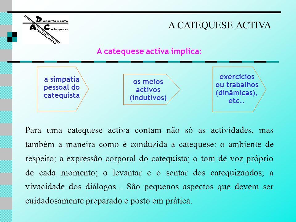 a simpatia pessoal do catequista os meios activos (indutivos) exercícios ou trabalhos (dinâmicas), etc.. A CATEQUESE ACTIVA A catequese activa implica