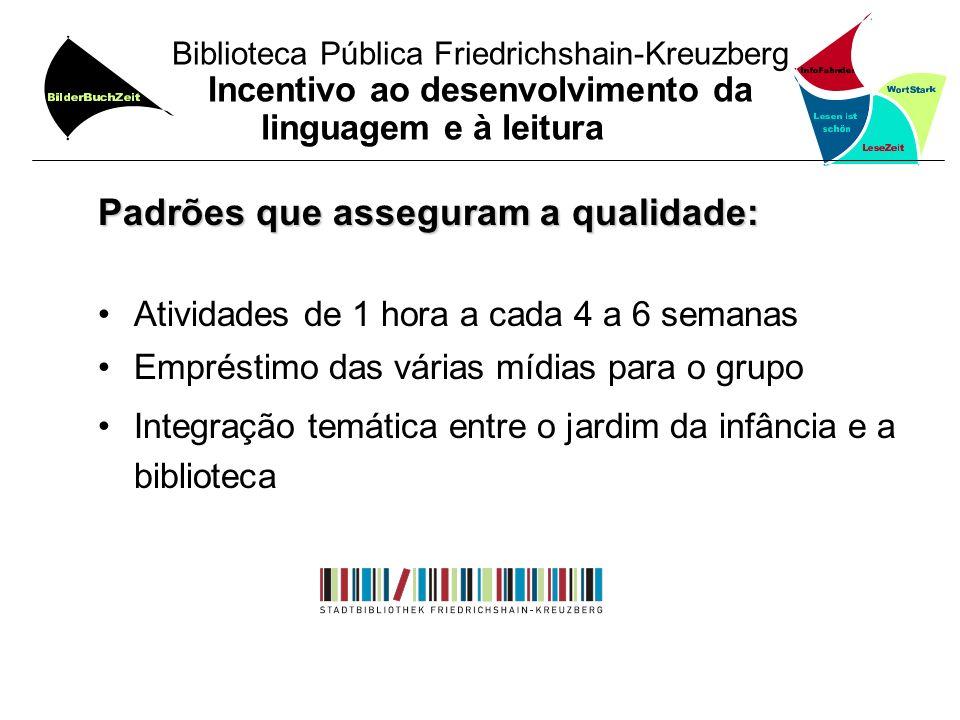 Biblioteca Pública Friedrichshain-Kreuzberg Incentivo ao desenvolvimento da linguagem e à leitura Padrões que asseguram a qualidade: Atividades de 1 h