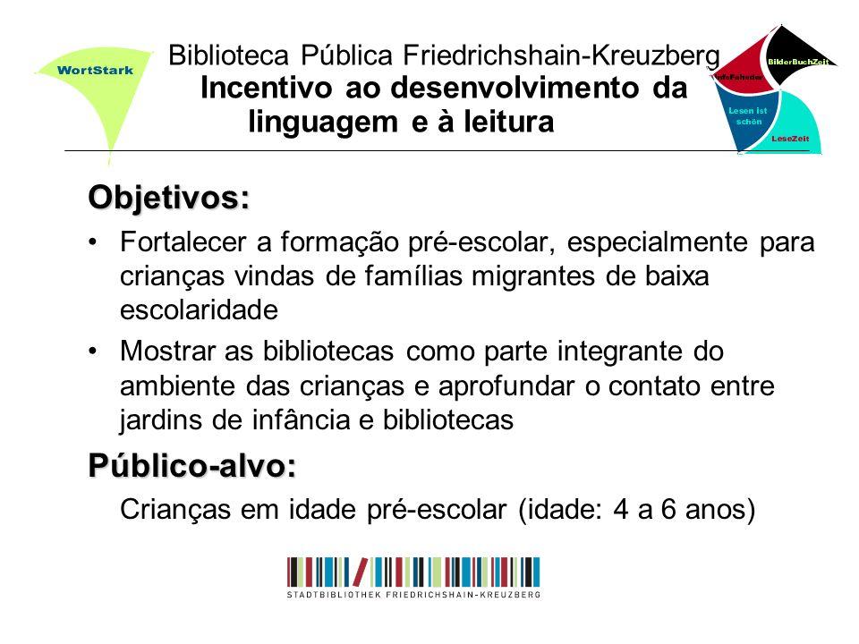 Biblioteca Pública Friedrichshain-Kreuzberg Incentivo ao desenvolvimento da linguagem e à leitura Objetivos: Fortalecer a formação pré-escolar, especi