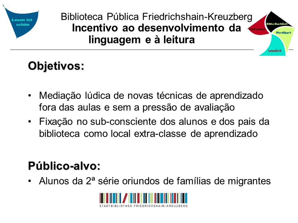 Biblioteca Pública Friedrichshain-Kreuzberg Incentivo ao desenvolvimento da linguagem e à leitura Objetivos: Mediação lúdica de novas técnicas de apre