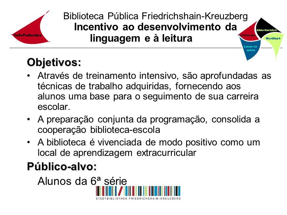 Biblioteca Pública Friedrichshain-Kreuzberg Incentivo ao desenvolvimento da linguagem e à leitura Objetivos: Através de treinamento intensivo, são apr