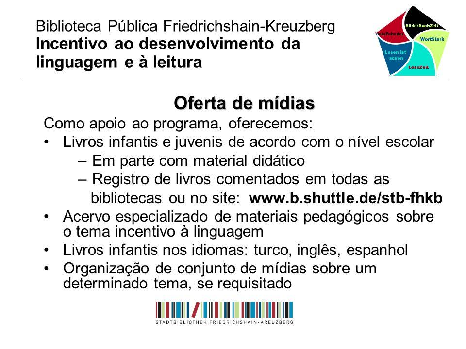 Oferta de mídias Como apoio ao programa, oferecemos: Livros infantis e juvenis de acordo com o nível escolar – Em parte com material didático – Regist