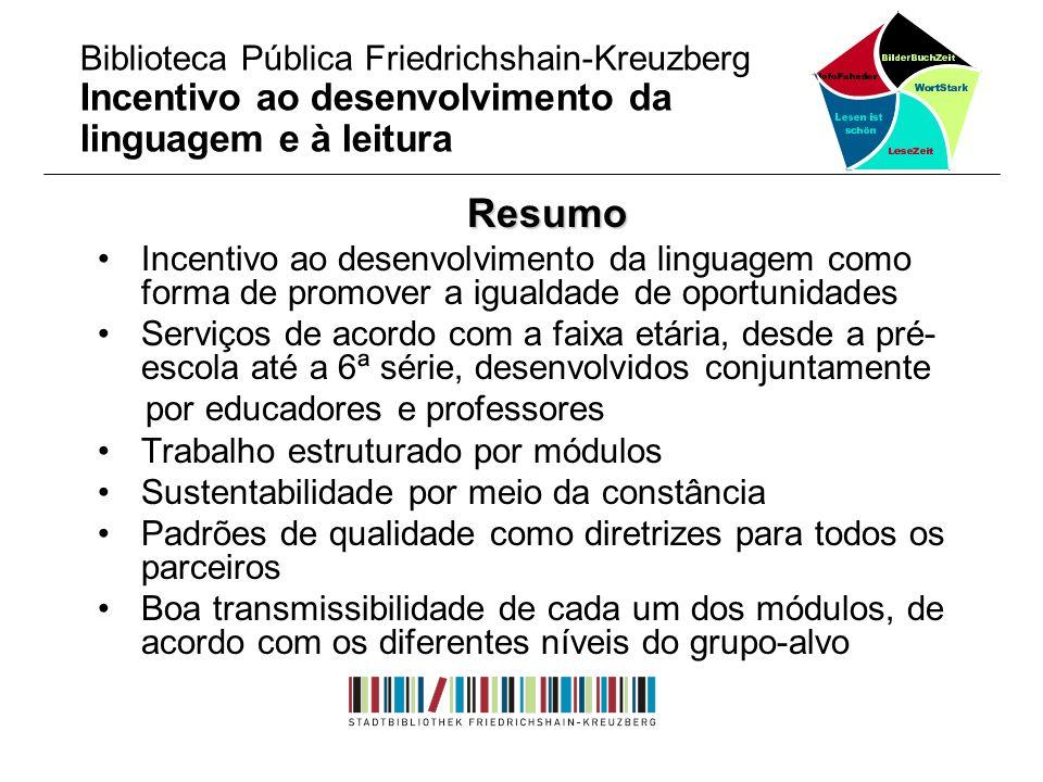 Resumo Incentivo ao desenvolvimento da linguagem como forma de promover a igualdade de oportunidades Serviços de acordo com a faixa etária, desde a pr