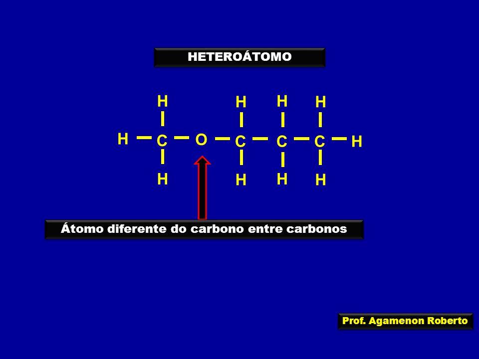 Prof. Agamenon Roberto HETEROÁTOMO O C H H H CC H C H H HH H H Átomo diferente do carbono entre carbonos