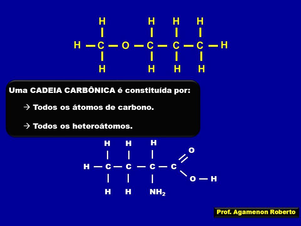 OCCCC H H H HH H HH H H Uma CADEIA CARBÔNICA é constituída por: Todos os átomos de carbono. Todos os heteroátomos. CCCC H HHNH 2 O H H OH H