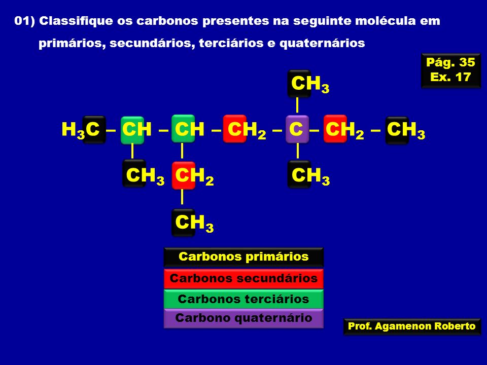 Prof. Agamenon Roberto 01) Classifique os carbonos presentes na seguinte molécula em primários, secundários, terciários e quaternários H 3 C – CH – CH