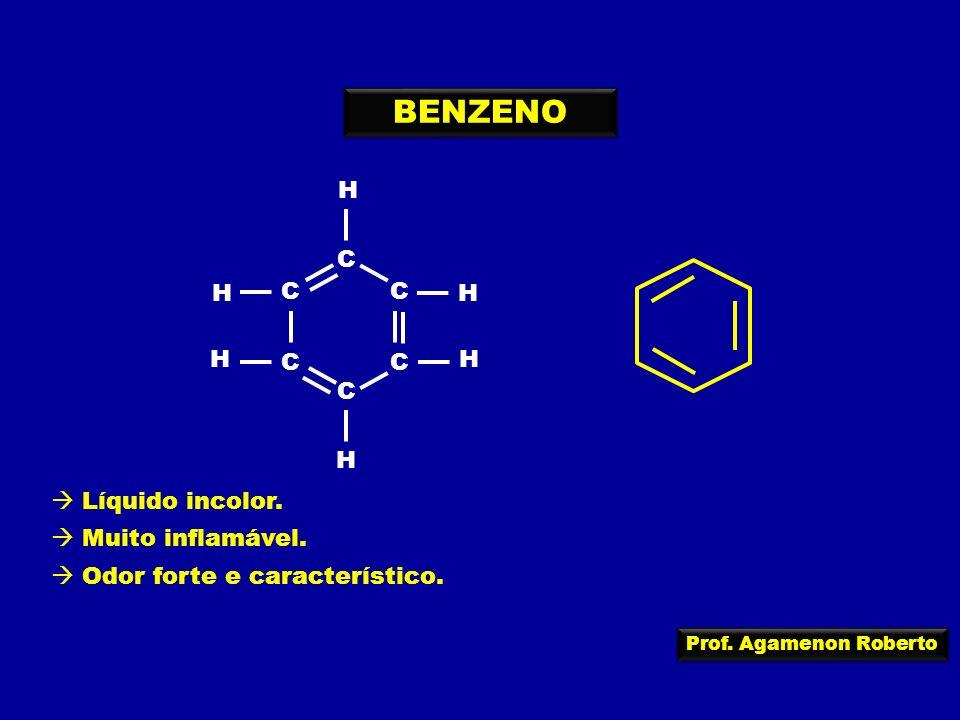 Prof. Agamenon Roberto C C C C C C H H H H H H BENZENO Líquido incolor. Muito inflamável. Odor forte e característico.