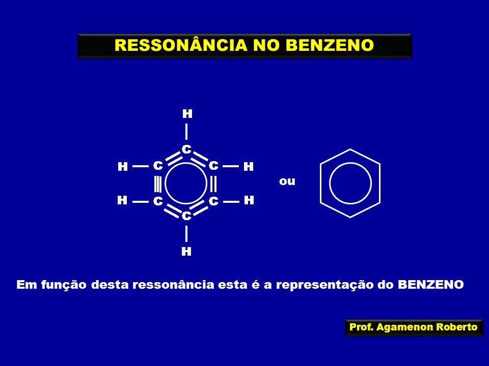 Prof. Agamenon Roberto C C C C C C H H H H H H RESSONÂNCIA NO BENZENO C C C C C C H H H H H H C C C C C C H H H H H H C C C C C C H H H H H H C C C C