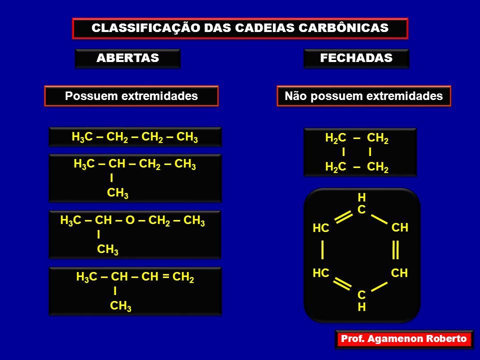 Prof. Agamenon Roberto CLASSIFICAÇÃO DAS CADEIAS CARBÔNICAS H 3 C – CH 2 – CH 2 – CH 3 H 3 C – CH – CH 2 – CH 3 I CH 3 H 3 C – CH – CH 2 – CH 3 I CH 3