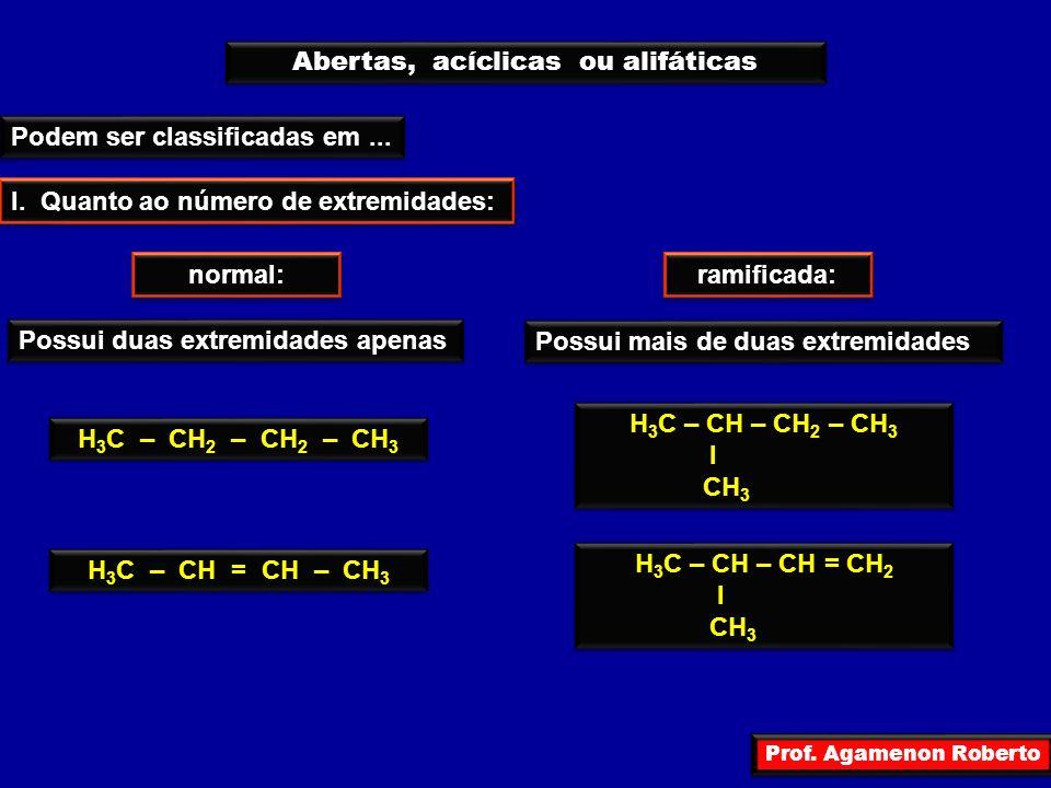 Prof. Agamenon Roberto Abertas, acíclicas ou alifáticas Podem ser classificadas em... I. Quanto ao número de extremidades: normal: ramificada: Possui