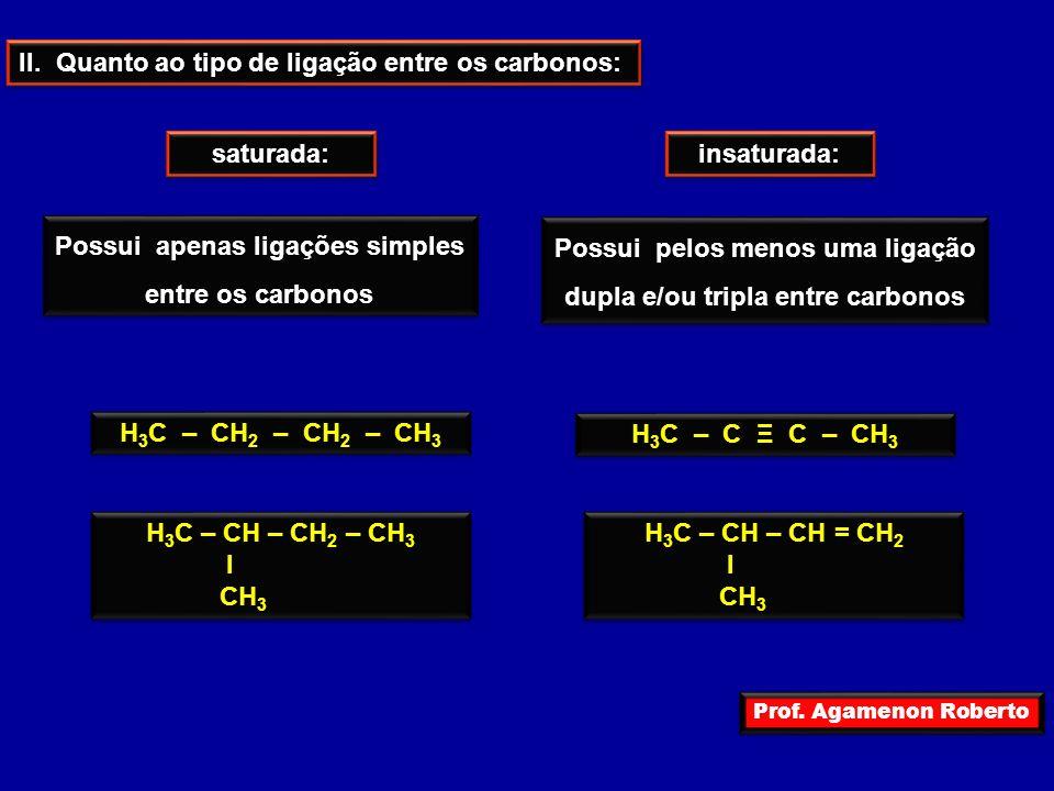 Prof. Agamenon Roberto II. Quanto ao tipo de ligação entre os carbonos: saturada: insaturada: Possui apenas ligações simples entre os carbonos Possui