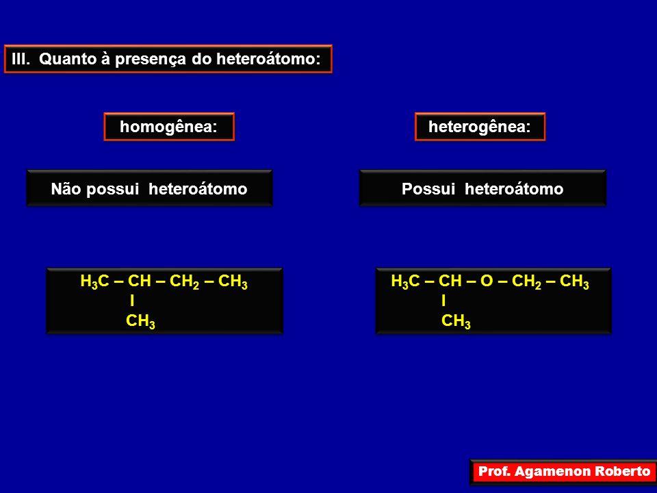Prof. Agamenon Roberto III. Quanto à presença do heteroátomo: homogênea: heterogênea: Não possui heteroátomo Possui heteroátomo H 3 C – CH – CH 2 – CH