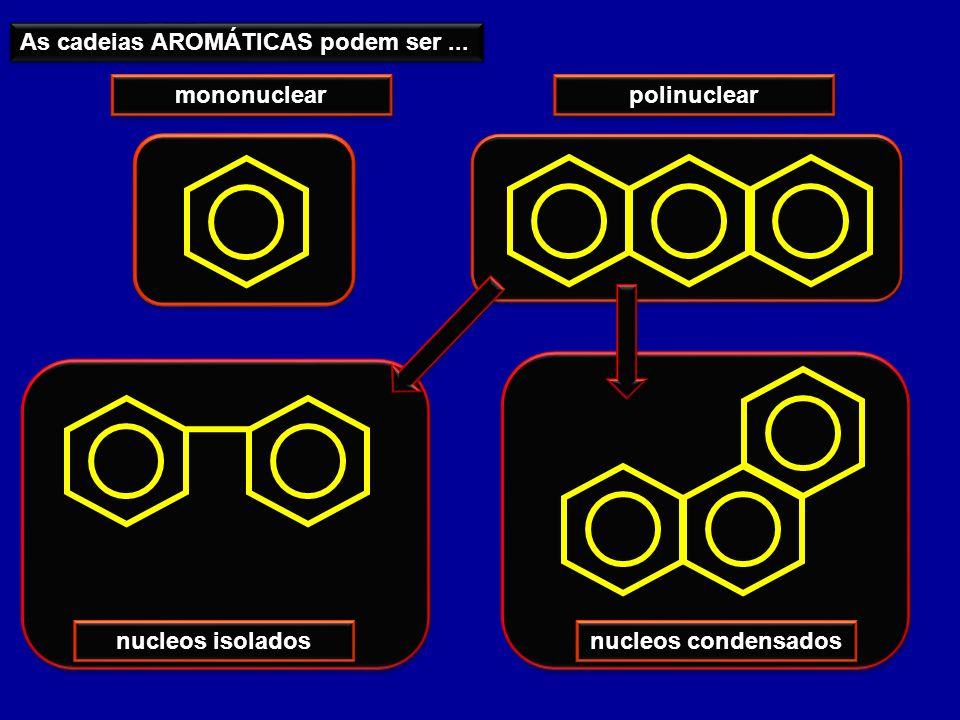 As cadeias AROMÁTICAS podem ser... mononuclear polinuclear nucleos isolados nucleos condensados