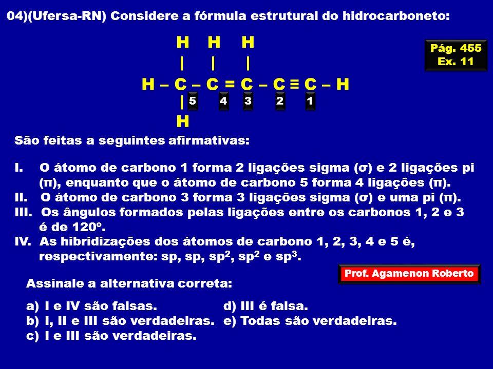 Prof. Agamenon Roberto Pág. 455 Ex. 11 Pág. 455 Ex. 11 04)(Ufersa-RN) Considere a fórmula estrutural do hidrocarboneto: 1 1 H HHH H – C – C = C – C C