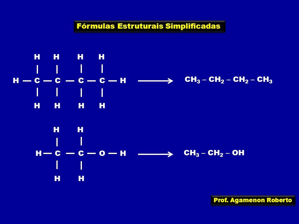 Prof. Agamenon Roberto Fórmulas Estruturais Simplificadas HC H C H C H C H H HHHH CH 3 – CH 2 – CH 2 – CH 3 HC H C H OH HH CH 3 – CH 2 – OH