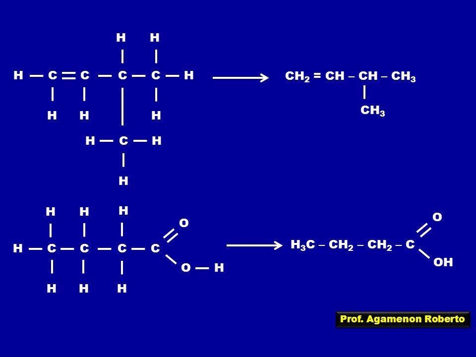 Prof. Agamenon Roberto HCC H C H C H H HH HC H H CH 2 = CH – CH – CH 3 CH 3 HCC H C H C H O H H OH H H 3 C – CH 2 – CH 2 – C O OH