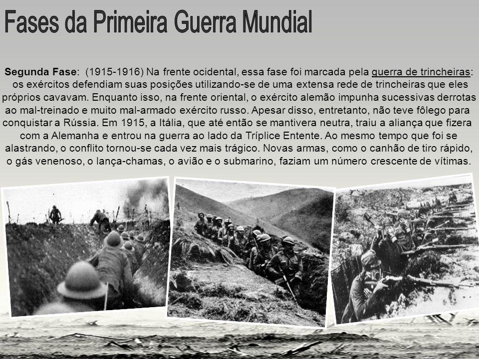 guerra de trincheiras Segunda Fase: (1915-1916) Na frente ocidental, essa fase foi marcada pela guerra de trincheiras: os exércitos defendiam suas posições utilizando-se de uma extensa rede de trincheiras que eles próprios cavavam.