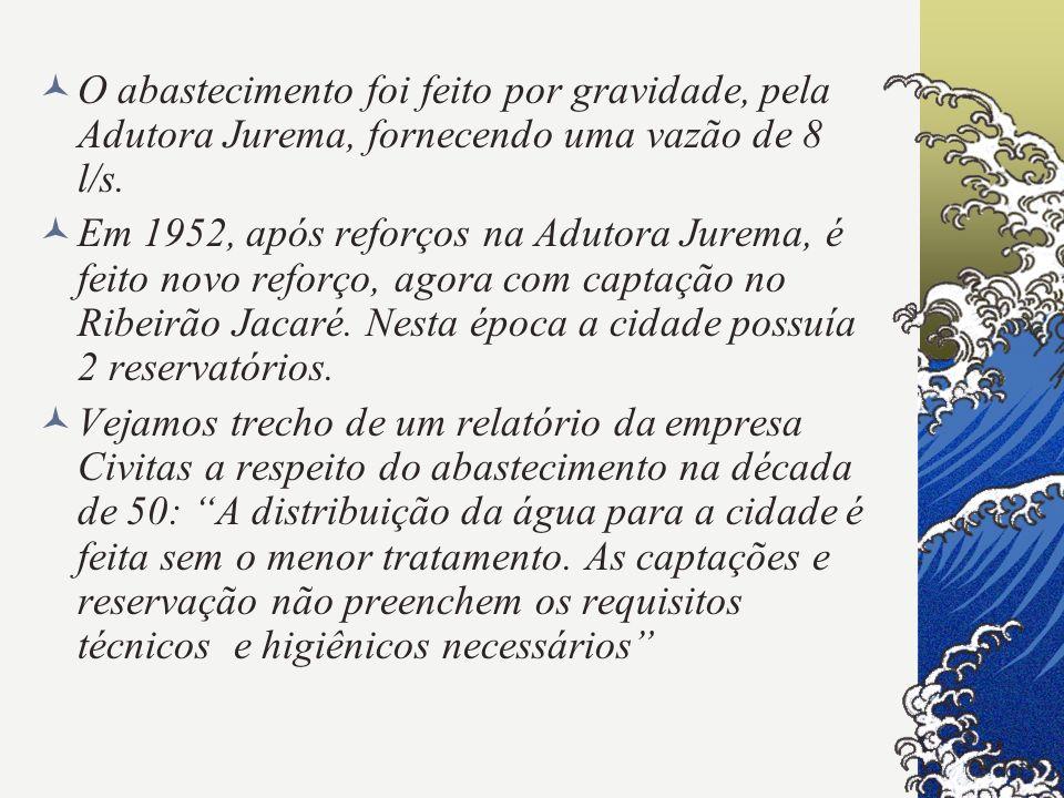 O abastecimento foi feito por gravidade, pela Adutora Jurema, fornecendo uma vazão de 8 l/s. Em 1952, após reforços na Adutora Jurema, é feito novo re