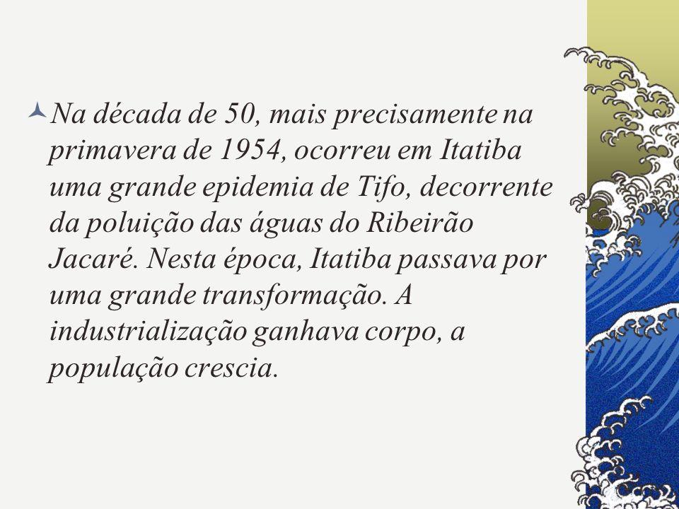 Na década de 50, mais precisamente na primavera de 1954, ocorreu em Itatiba uma grande epidemia de Tifo, decorrente da poluição das águas do Ribeirão