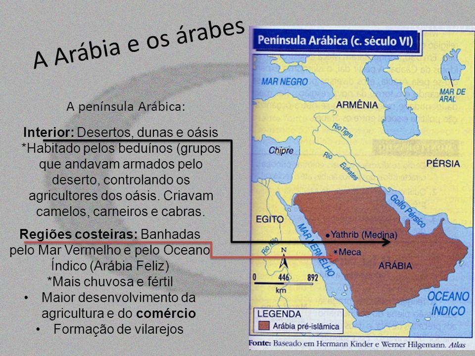 A Arábia e os árabes A península Arábica: Interior: Desertos, dunas e oásis *Habitado pelos beduínos (grupos que andavam armados pelo deserto, control