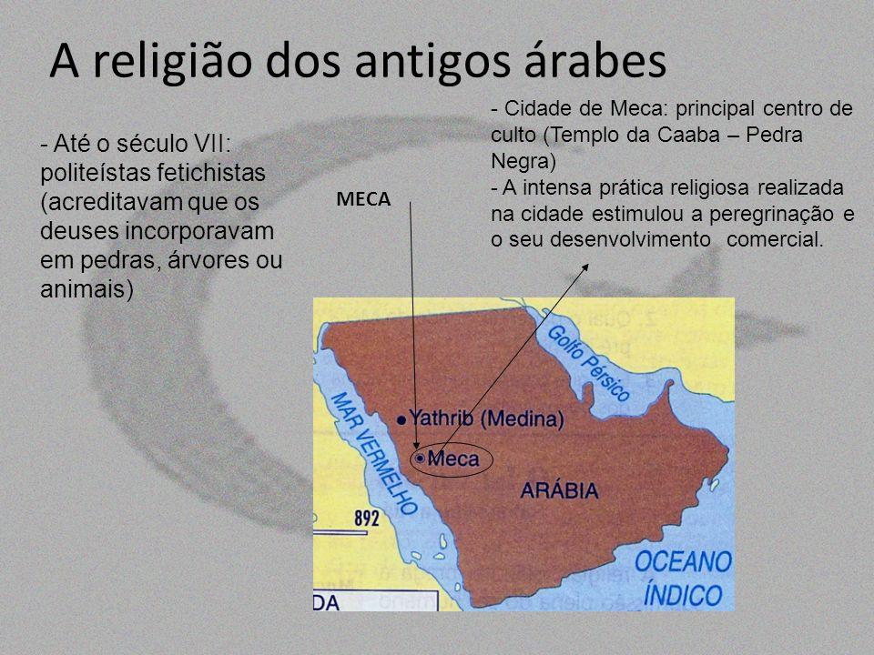 A religião dos antigos árabes - Até o século VII: politeístas fetichistas (acreditavam que os deuses incorporavam em pedras, árvores ou animais) - Cid