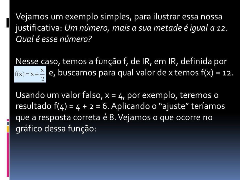 Vejamos um exemplo simples, para ilustrar essa nossa justificativa: Um número, mais a sua metade é igual a 12. Qual é esse número? Nesse caso, temos a