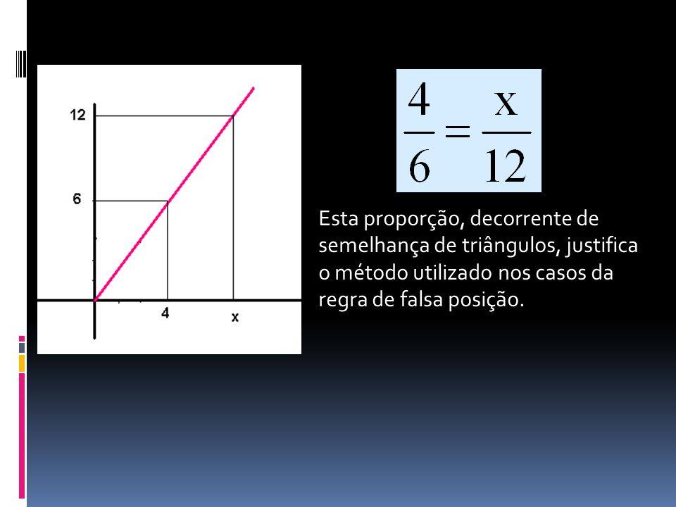 Esta proporção, decorrente de semelhança de triângulos, justifica o método utilizado nos casos da regra de falsa posição.