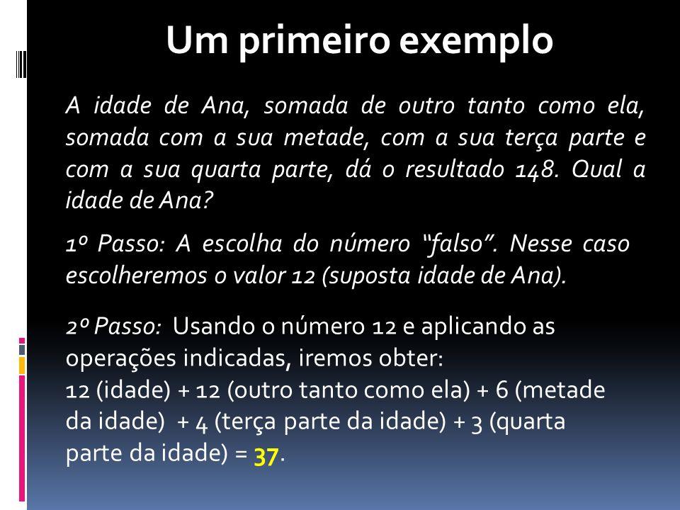 3º Passo: AJUSTE NÚMERO (idade) RESULTADO FALSO1237 VERDADEIROX148 Resposta: Ana tem 48 anos.