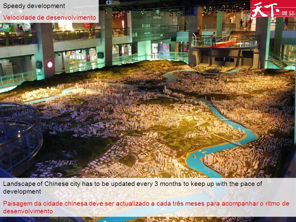 Speedy development Velocidade de desenvolvimento Landscape of Chinese city has to be updated every 3 months to keep up with the pace of development Paisagem da cidade chinesa deve ser actualizado a cada três meses para acompanhar o ritmo de desenvolvimento