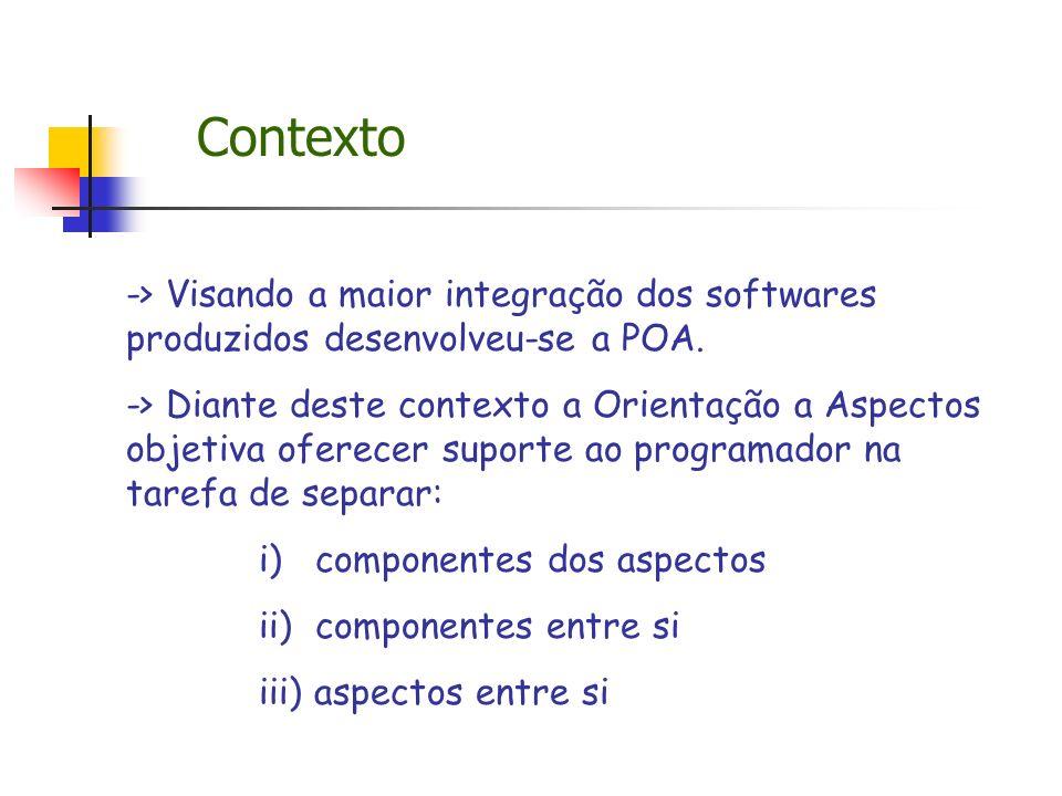 Contexto -> Visando a maior integração dos softwares produzidos desenvolveu-se a POA. -> Diante deste contexto a Orientação a Aspectos objetiva oferec