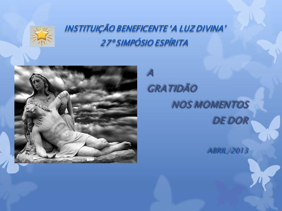 INSTITUIÇÃO BENEFICENTE A LUZ DIVINA 27º SIMPÓSIO ESPÍRITA AGRATIDÃO NOS MOMENTOS DE DOR ABRIL/2013AGRATIDÃO NOS MOMENTOS DE DOR ABRIL/2013
