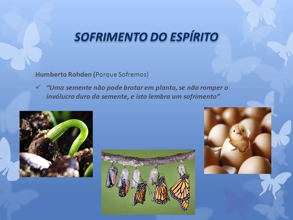 SOFRIMENTO DO ESPÍRITO Humberto Rohden (Porque Sofremos) Uma semente não pode brotar em planta, se não romper o invólucro duro da semente, e isto lembra um sofrimento