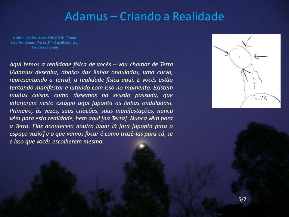 Adamus – Criando a Realidade Aqui temos a realidade física de vocês – vou chamar de Terra [Adamus desenha, abaixo das linhas onduladas, uma curva, representando a Terra], a realidade física aqui.