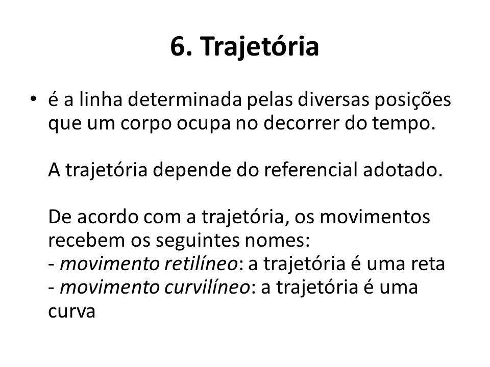 6. Trajetória é a linha determinada pelas diversas posições que um corpo ocupa no decorrer do tempo. A trajetória depende do referencial adotado. De a