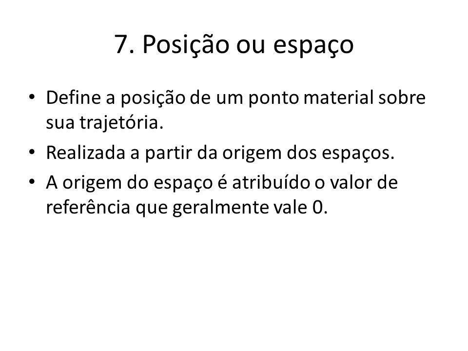 7.Posição ou espaço Define a posição de um ponto material sobre sua trajetória.