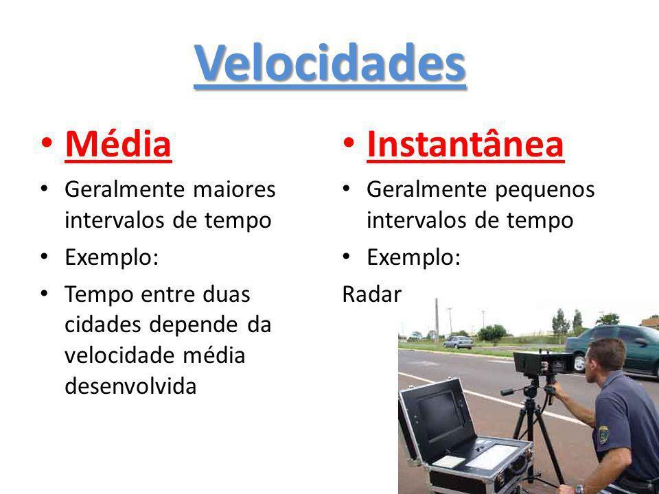 Velocidades Média Geralmente maiores intervalos de tempo Exemplo: Tempo entre duas cidades depende da velocidade média desenvolvida Instantânea Geralmente pequenos intervalos de tempo Exemplo: Radar