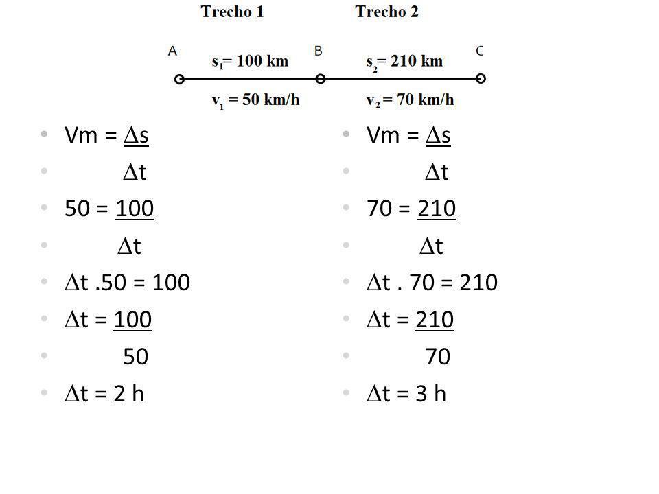 Vm = s t 50 = 100 t t.50 = 100 t = 100 50 t = 2 h Vm = s t 70 = 210 t t.