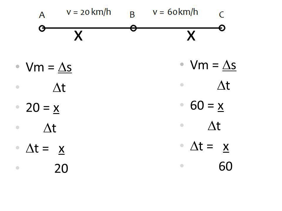 Vm = s t 20 = x t t = x 20 Vm = s t 60 = x t t = x 60 x xx x