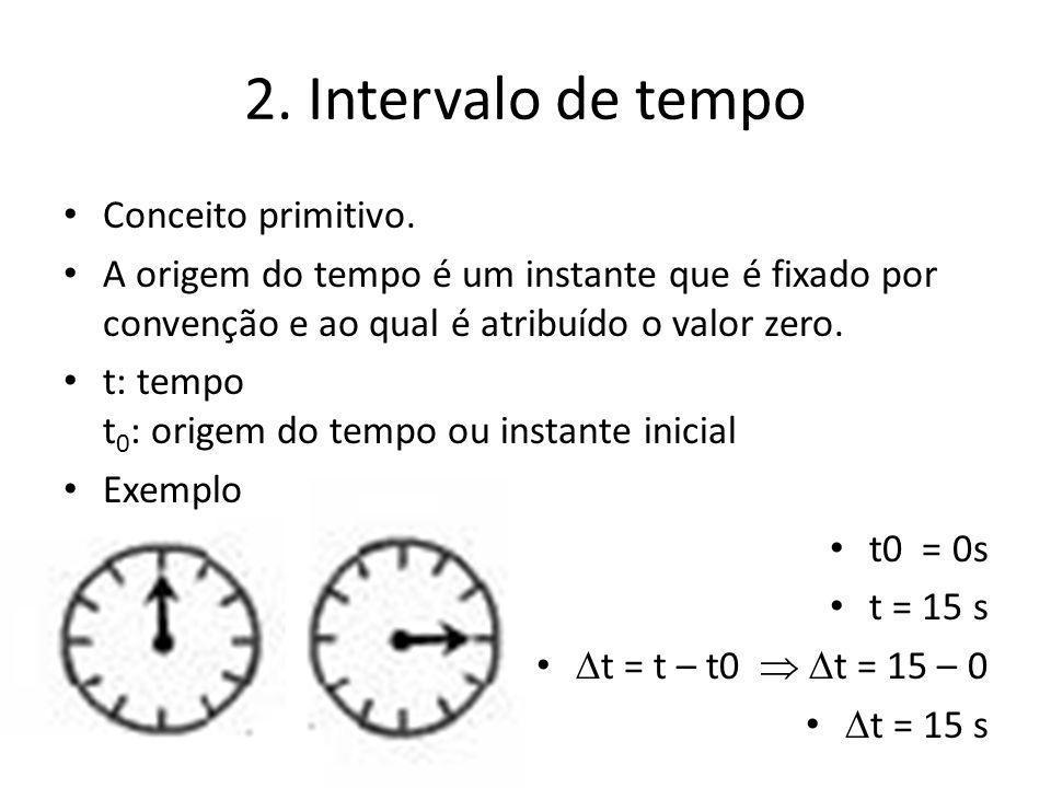 2. Intervalo de tempo Conceito primitivo. A origem do tempo é um instante que é fixado por convenção e ao qual é atribuído o valor zero. t: tempo t 0
